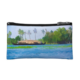 A houseboat on its quiet sojourn in a lagoon makeup bag
