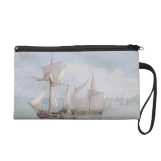 A Hoy and a Lugger with other Shipping on a Calm S Wristlet Purse