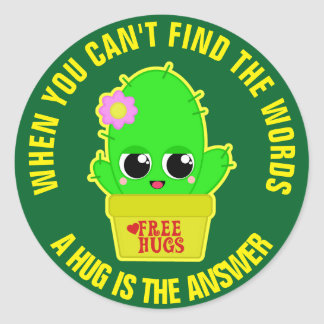 A Hug is The Answer Classic Round Sticker