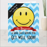 "A Huge Smile Get Well Soon Custom Big Card<br><div class=""desc"">Show how much you care about your friend or family member&#39;s well being by giving them a Humongous custom get well card for their bed side. All they have to do is take one look at it to cheer them up. It features a giant happy face smiling in front along...</div>"