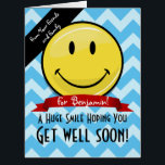 """A Huge Smile Get Well Soon Custom Big Card<br><div class=""""desc"""">Show how much you care about your friend or family member&#39;s well being by giving them a Humongous custom get well card for their bed side. All they have to do is take one look at it to cheer them up. It features a giant happy face smiling in front along...</div>"""