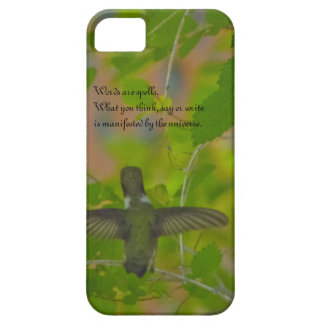 A hummingbird reads philosophical words iPhone 5 cases