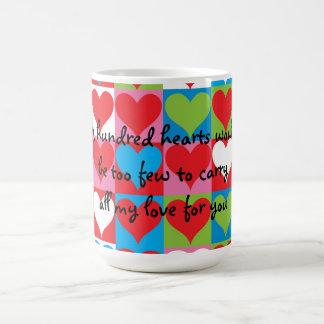 A hundred hearts coffee mug