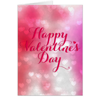 A Hundred Hearts Red and Pink Valentine Greeting Card
