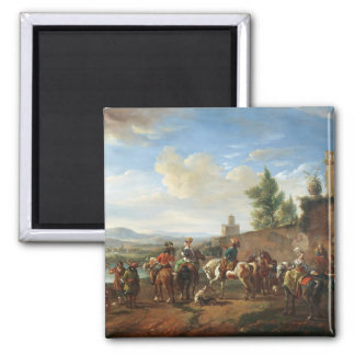 A Hunting Party by a Country House (oil on canvas) 2 Inch Square Magnet