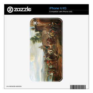 A Hunting Party by a Country House (oil on canvas) Decal For iPhone 4