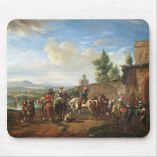 A Hunting Party by a Country House (oil on canvas) Mouse Pad