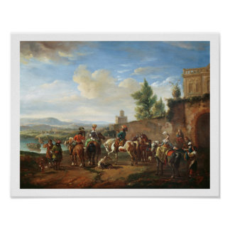 A Hunting Party by a Country House (oil on canvas) Poster