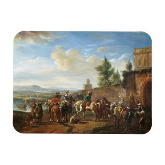 A Hunting Party by a Country House (oil on canvas) Rectangular Photo Magnet
