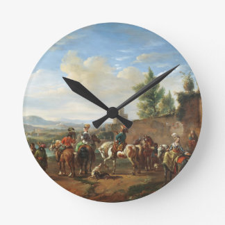 A Hunting Party by a Country House (oil on canvas) Round Clock