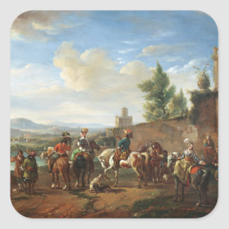 A Hunting Party by a Country House (oil on canvas) Square Sticker