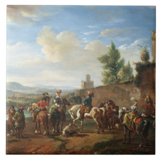 A Hunting Party by a Country House (oil on canvas) Tile