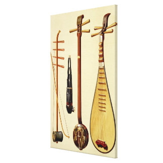 A huqin and bow, a sheng, a sanxian and a pipa, Ch Canvas Print