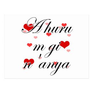 A huru m gi n'anya - Igbo I love you (2) Hearts Re Postcard