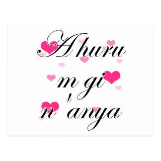 A huru m gi n'anya - Igbo I love you (2) Pink Hear Postcard