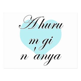 A huru m gi n'anya - Igbo I love you (2) Teal Hear Postcard