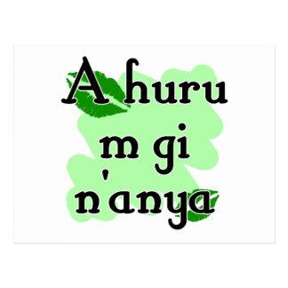 A huru m gi n'anya - Igbo I love you (3) Green Kis Postcard