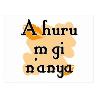 A huru m gi n'anya - Igbo I love you (3) Orange Ki Postcard