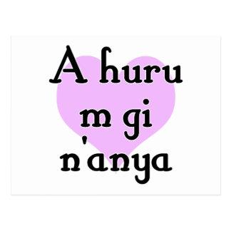 A huru m gi n'anya - Igbo I love you (3) Purple He Postcard