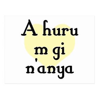 A huru m gi n'anya - Igbo I love you (3) Yellow He Postcard