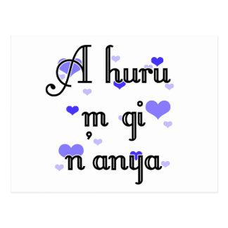 A huru m gi n'anya - Igbo I love you (4) Blue Hear Postcard