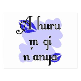 A huru m gi n'anya - Igbo I love you (4) Blue Kiss Postcard