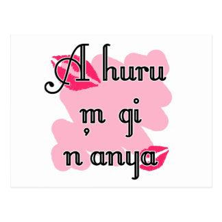 A huru m gi n'anya - Igbo I love you (4) Pink Kiss Postcard