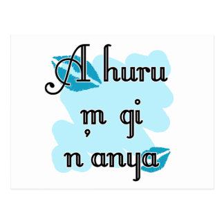 A huru m gi n'anya - Igbo I love you (4) Teal Kiss Postcard