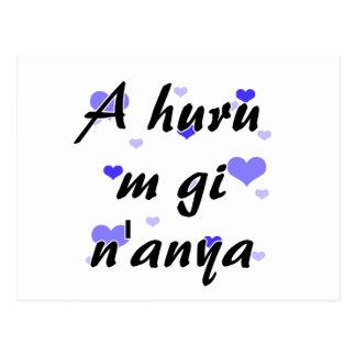 A huru m gi n'anya - Igbo I love you Blue Hearts.p Postcard