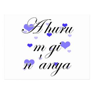 A huru m gi n'anya - Igbo I love you Blue Hearts Postcard