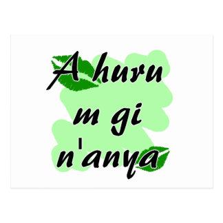A huru m gi n'anya - Igbo I love you Green Kisses. Postcard