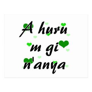 A huru m gi n'anya - Igbo I love you Hearts Green. Postcard