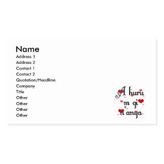 A huru m gi n'anya - Igbo I love you  Hearts Red Business Card Templates