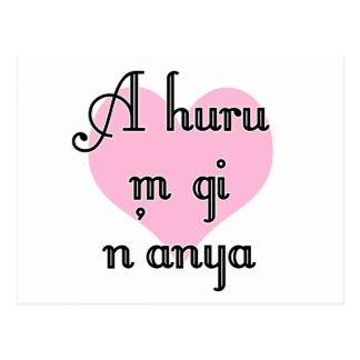A huru m gi n'anya - Igbo I love you  Pink Heart Postcard