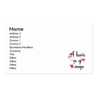 A huru m gi n'anya - Igbo I love you  Pink Hearts Business Card