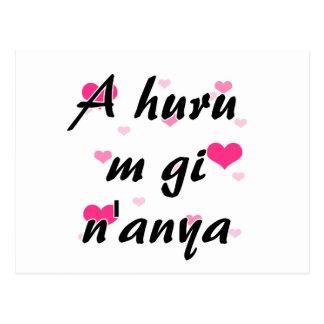 A huru m gi n'anya - Igbo I love you Pink Hearts.p Postcard