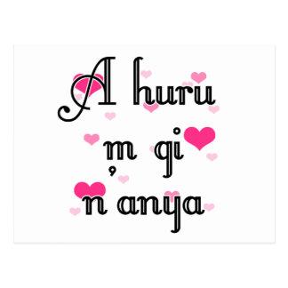 A huru m gi n'anya - Igbo I love you  Pink Hearts Postcard