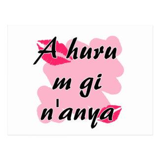 A huru m gi n'anya - Igbo I love you Pink Kisses.p Postcard