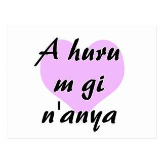 A huru m gi n'anya - Igbo I love you Purple Heart. Postcard