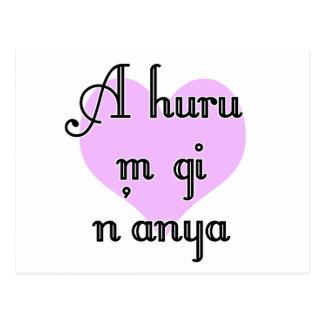 A huru m gi n'anya - Igbo I love you Purple Heart Postcard