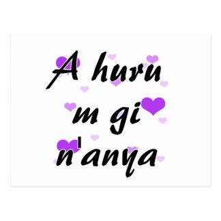 A huru m gi n'anya - Igbo I love you Purple Hearts Postcard