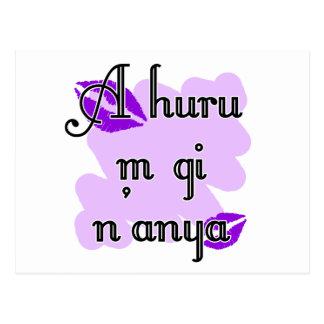 A huru m gi n'anya - Igbo I love you Purple Kisses Postcard