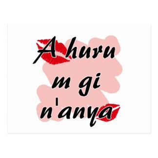 A huru m gi n'anya - Igbo I love you Red Kisses.pn Postcard