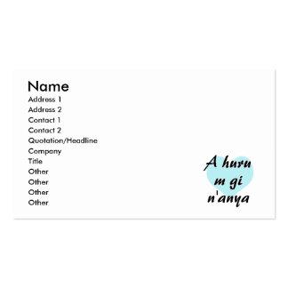 A huru m gi n'anya - Igbo I love you Teal Heart.pn Business Card Templates