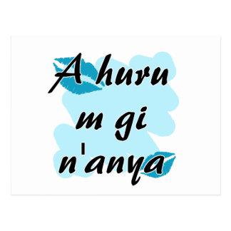 A huru m gi n'anya - Igbo I love you Teal Kisses Postcard