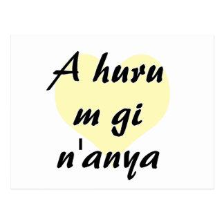 A huru m gi n'anya - Igbo I love you Yellow Heart. Postcard
