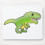 A illustration of a cute tyrannosaurus rex dinosau mouse pads