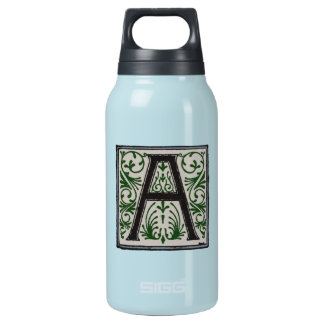 A Initial Cap Decorative Floral Design Vintage Insulated Water Bottle