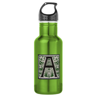 A Initial Cap Decorative Floral Design Vintage Stainless Steel Water Bottle