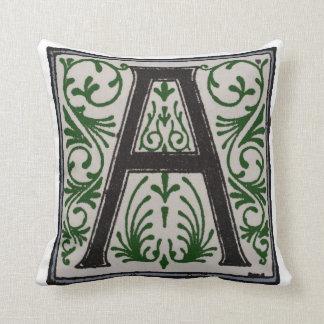 A Initial Cap Decorative Floral Design Vintage Throw Pillow